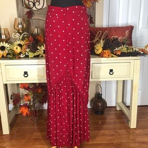 Leith| women's red polka dot maxi skirt